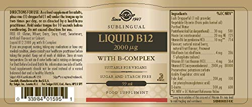 SOLGAR - VIT. B12 LIQUIDA+B COMPLEX 59M: Amazon.es: Salud y cuidado personal