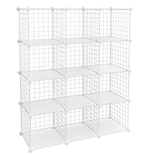 - SONGMICS Metal Wire Cube Storage,12-Cube Shelves Organizer,Stackable Storage Bins, Modular Bookcase, DIY Closet Cabinet Shelf, 36.6