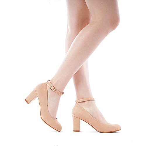 Chunky High Heel PAIRS Nude Shoes Pumps Demilee Women's DREAM Suede dtIX8wqAxw