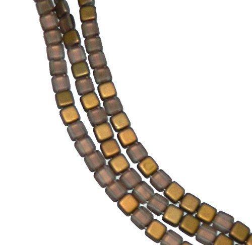 Czechmate 6mm Square Glass Czech Two Hole Tile Bead - Matte Apollo Gold Apollo Matte