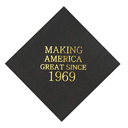 (Veronica 50th Birthday Black and Gold Cocktail Napkins Making America Great Since 1969 Decoration Party Supplies 50 Pack 4.9