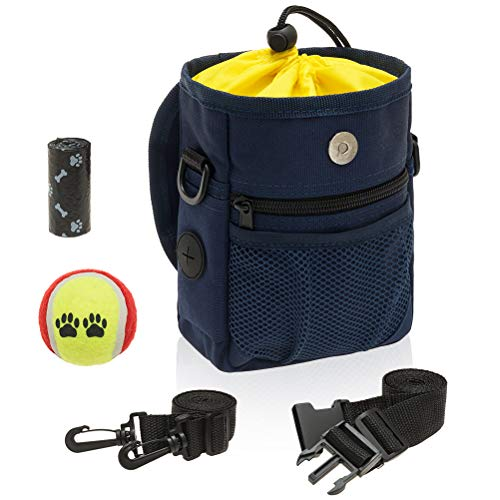 EXPAWLORER Dog Treat Pouch Training - Dog Treat Bags with Tennis Ball and Poop Bags, Waist & Shoulder Blet, Easily Carries Pet Toys, Snacks