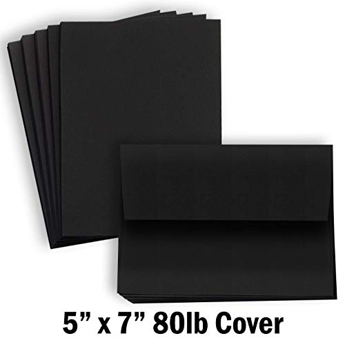 (Hamilco Black Colored Cardstock Thick paper - Blank Note Greeting Invitations & Index Cards with Envelopes - 5 x 7