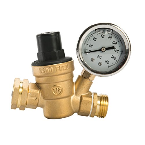 Esright Brass Water Pressure Regulator Lead-Free with Gauge for RV Camper Adjustable Water Pressure Regulator (NH Threads Contains Oil) by Esright
