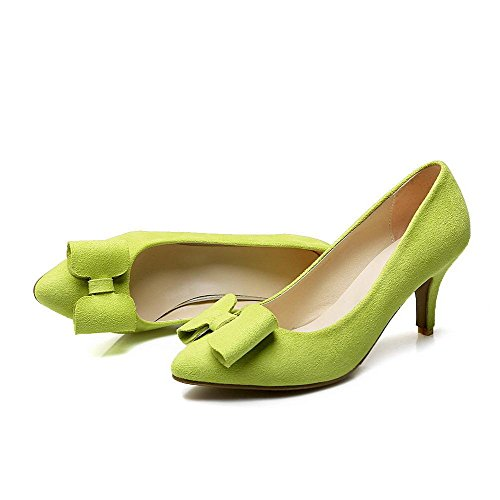 AmoonyFashion Womens Pointed Closed Toe High Heels Solid Pull On Pumps-Shoes Green nSK0e