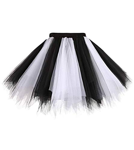 Dresstore Women's Short Vintage Petticoat Skirt Ballet Bubble Tutu Multi-colored Black-White S/M]()