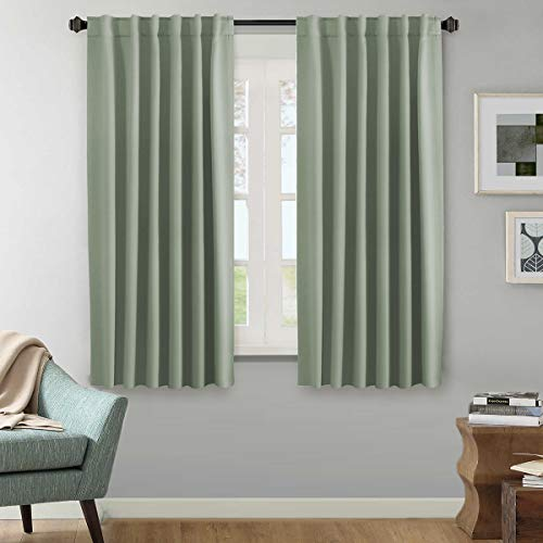 (H.VERSAILTEX Blackout Thermal Insulated Curtains Pair, Back Tab/Rod Pocket Thermal Insulated Window Draperies - 52x63 Inch - Solid Sage)