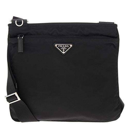 - Prada Woman's Vela Flat Crossbody Bag Black