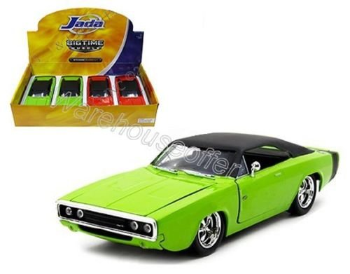 New 1:24 DISPLAY BIG TIME MUSCLE - GREEN 1970 DODGE CHARGER R/T Diecast Model Car By Jada (Dodge Charger Muscle Cars)