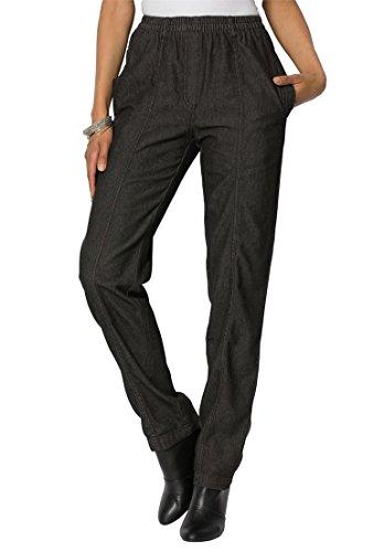Roamans Women's Plus Size Kate Elastic Waist Jeans Black Denim,20