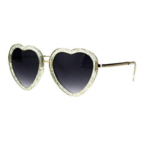 Womens Retro Valentine Love Glitter Plastic Heart Sunglasses Beige