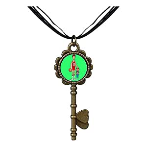 Chicforest Bronze Retro Style Olympics basketball player brother Key to Her Heart Pendant