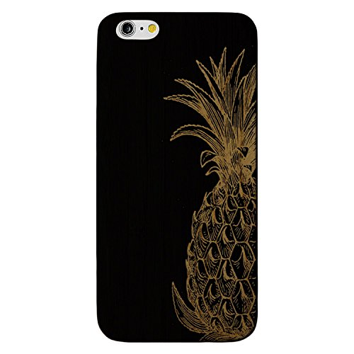 JewelryVolt Wooden Phone Case for iPhone 7 Plus Black Wood Laser Engraved Floral Fruit Pineapple Drawing Sketch