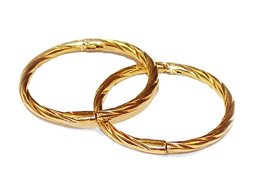 14mm 22K GOLD OVER SOLID STERLING SILVER TWISTED HINGED HOOP EARRINGS, Easy On & Off !