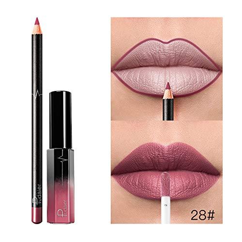 Lipstick, Longay Long Lasting Lipstick Waterproof Matte Liquid Gloss Lip Liner Cosmetics Set (A) ()