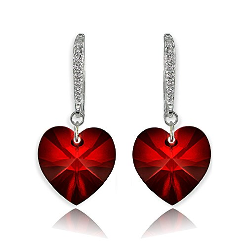 - Sterling Silver Red Love Heart Dangle Earrings Created with Swarovski Crystals