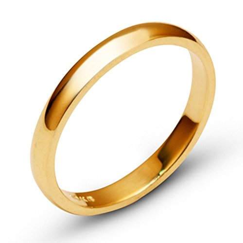 14k Yellow Solid Gold 3mm Comfort Fit Domed Plain Men's Women's Wedding Band Size 8 ()