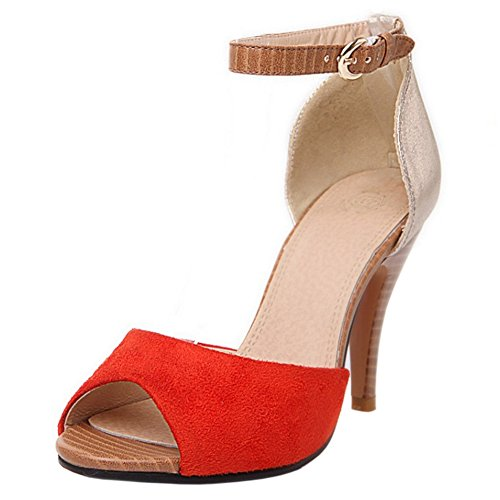 TAOFFEN Women Peep Toe Ankle Strap Sandals Shoes Orange PsuG7KVrI
