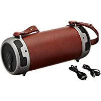 Tyler Portable Wireless Bluetooth Stereo Cylinder Speaker TWS401-BR with LED Light, FM Radio, AUX and MicroSD/TF Card Imput | Brown |