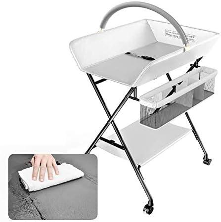 赤ちゃんおむつ交換台 玩具ラックで表を変更する折り畳み式幼児、小スペース、PUレザーのための赤ん坊のおむつ駅/触る表
