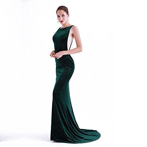 Gelinas CG Mermaid Neck Maxi Velvet 0753 Dress CG Stretchy Gown Women J France High Chris Evening Green Homecoming twqY5