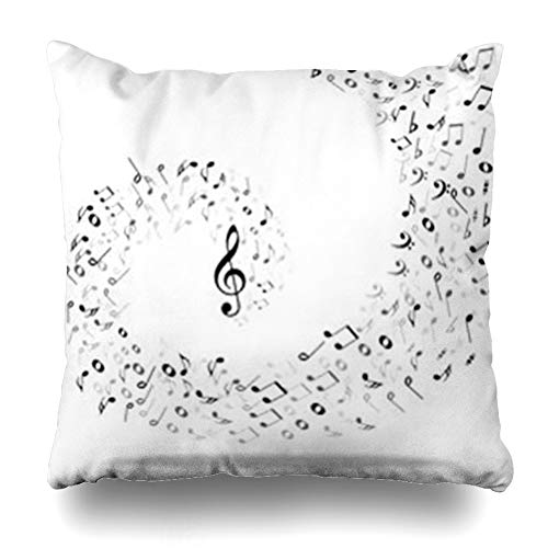 (YeaSHARK Throw Pillow Covers Clef Harmony Music Notes Pattern Abstract Treble Bass Staff White Musical Black Classic Sheet Cross Zippered Design Square 16