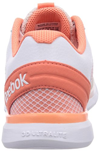 Reebok Cardio Workout Low RS, Damen Hallenschuhe, Mehrfarbig (Moon White/Coral/White), EU 39 (UK 6 / US 8.5)