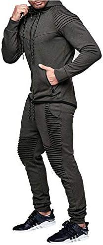 amropi Tuta Uomo Felpa con Cappuccio e Lunghe Pantaloni Tute da Ginnastica Full Zip Sportiva