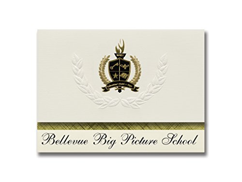 Bellevue Cream - Signature Announcements Bellevue Big Picture School (Bellevue, WA) Graduation Announcements, Presidential style, Elite package of 25 with Gold & Black Metallic Foil seal