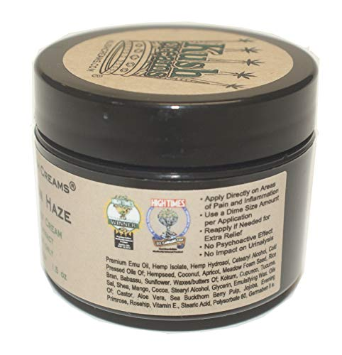 Kush Creams - Super Lemon Haze - Emu Oil & Hemp Oil Infused w/ 30+ Herbal Ingredients - Topical Pain Relief Cream with Aromatherapy - Award Winning - Doctor Recommended - Lab Tested - 1.5 oz Jar