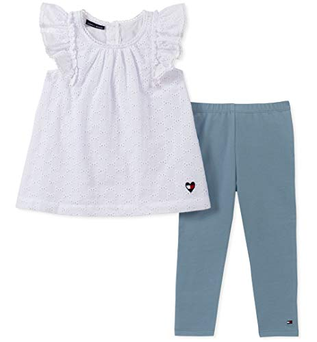 Tommy Hilfiger Girls' Little 2 Pieces Legging Set, White/Light wash Blue 6 (Wash Piece 6 Set)