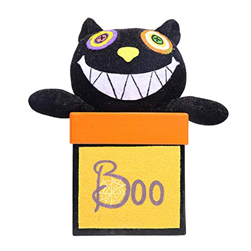 Gosear Halloween Supplies, Box Cute Candy Cookie Gift Snacks Props Box Jar with Black Cat Doll for Children Kids Halloween Festival Costume Party Birthday Holiday