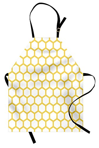 Ambesonne Yellow and White Apron, Hexagonal Pattern Honeycomb Beehive Simplistic Geometrical Monochrome, Unisex Kitchen Bib Apron with Adjustable Neck for Cooking Baking Gardening, Yellow -