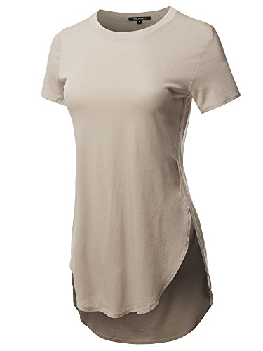 (Awesome21 Solid Over-Sized Side Slit Short Sleeves Round Neck Top Taupe Size L)
