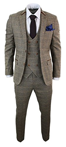 Mens 3 Piece Herringbone Tweed Tan Brown Check Suit Tailored Fit Double Classic (Jacket Tailored Tweed)