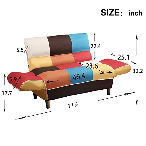 Convertible Upholstered Sofa,Couch Linen Fabric Loveseat ...