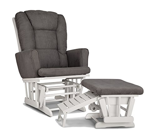 Graco Sterling Semi-Upholstered Glider and Nursing Ottoman, White/Gray Cleanable Upholstered Comfort Rocking Nursery Chair with - Ottoman Upholstered Nursery