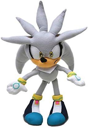 tianluo Juguete de Peluche 32cm Silver Sonic Plush Super Sonic The Hedgehog Plush Toy Sonic Toys Sonic Tails Knuckles Shadow Stuffed Dolls Llavero
