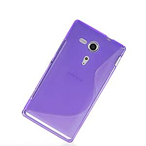 MOONCASE Soft Gel S Line Tpu Silicone Skin Style Devise Back Case Cover With Screen Protector for Sony Xperia SP M35h Purple