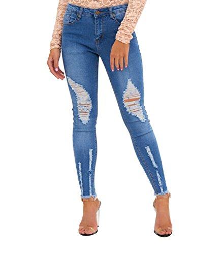Mena Donna Pantaloni Strappato Matita Jeans Blu A Elastico xUfAnx7