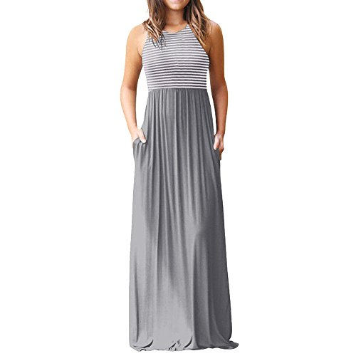 HGWXX7 Women Casual Loose Sliod Pockets Short Sleeve O Neck Long Party Dress (S, X-Gray) from HGWXX7