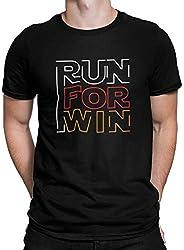 Camiseta Camisa Corra para ganhar Corrida Masculino Preto