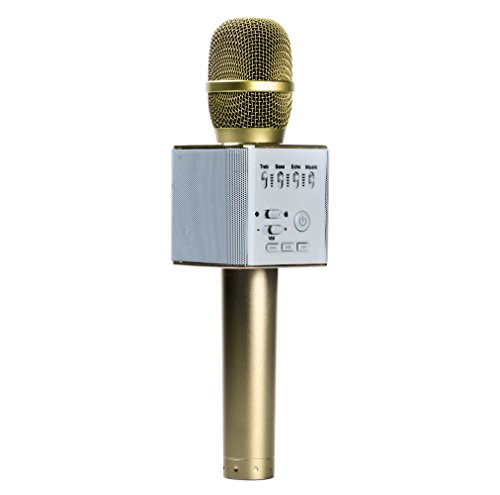 FidgetGear Q9 Wireless Handheld Microphone KTV Karaoke Stereo USB Player Bluetooth Easytake Q9 Gold from FidgetGear