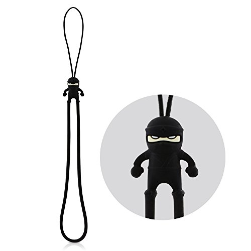 Multi-Purpose Hand Wrist Strap with Cute Cartoon Phone Charm Elastic Silicone Lanyard Bracelet for Cell Phone iPhone Case ID Holder Name Badge Keys Keychain USB Flash Drive - Ninja from Bone