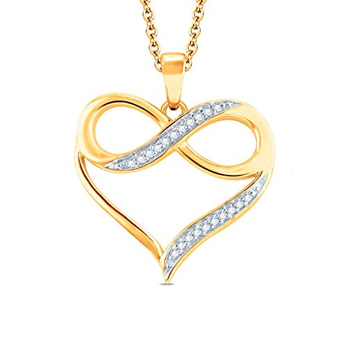 0.10 Ct Round Cut Simulated Diamond Infinity Heart Pendant With 18 Chain In 14K Yellow Gold Plated .925 Silver