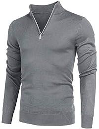 Men's Quarter Zip Sweaters Slim Fit Lightweight Cotton Mock Turtleneck Pullover