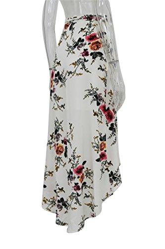 Jupes Taille Floral Irrgulier White Femelle C Femmes Blanc Imprim Jupe D't Fente Maxi Femme t Fille Jupe Vintage Longue Boho Wrap Jupes qzUfnUtxwH