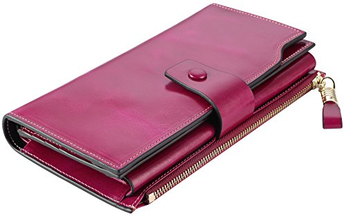 Genuine Leather Wallet Waxed Luxury Blocking Capacity Womens Clutch Card Organizer Multi Travelambo Large Purple Rfid B48H0w