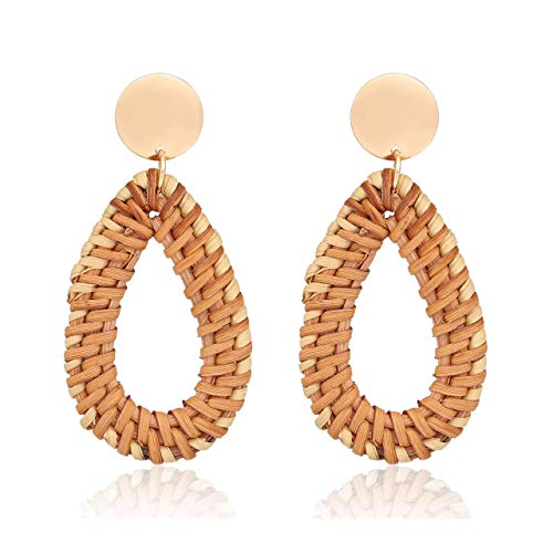 Vlinsha Rattan Earrings Drop Dangle Woven Handmade Teardrop Geometric Straw Lightweight Statement Earrings for Women Girls (Teardrop)