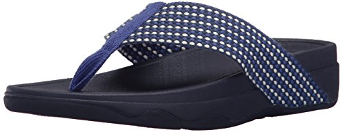 FitFlop Women's Surfa Flip-Flop, Royal Blue Mix, 11 M (Mix Flip Flops Thong Sandals)